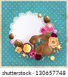 Easter background with chocolate bunny, eggs, sweets and roses. - stock photo
