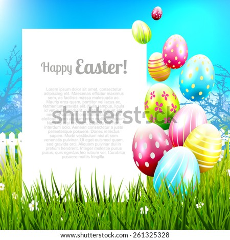 Easter background with colorful eggs and empty paper for your message - stock vector