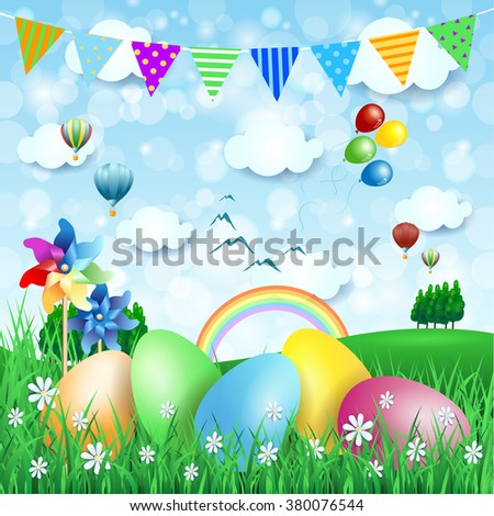 Easter background with countryside and Easter eggs. Vector illustration  - stock vector