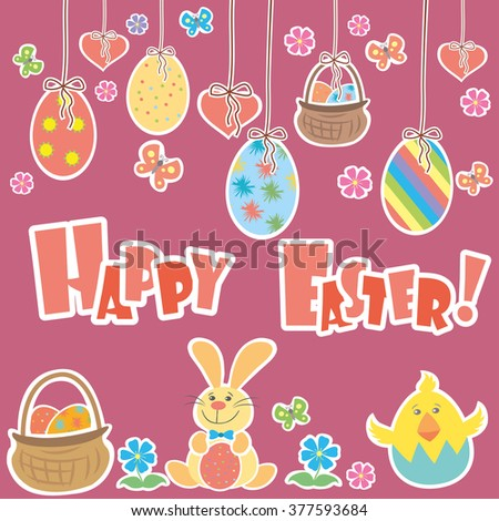 Easter Background with cute rabbit, colorful eggs and a chick,  vector illustration - stock vector
