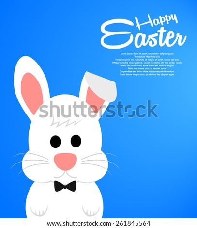 Easter background with cute white bunny - stock vector