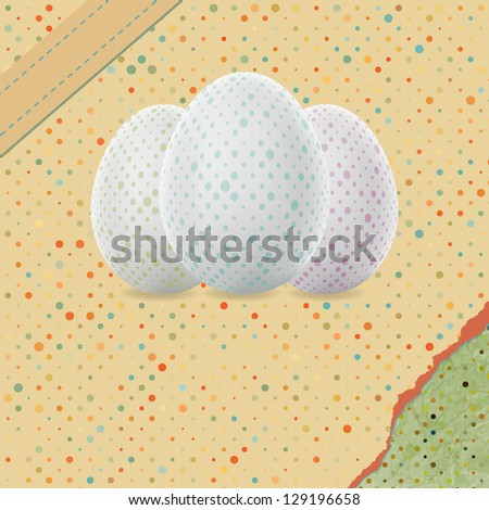 Easter Background with Decorated Eggs. And also includes EPS 8 vector - stock vector
