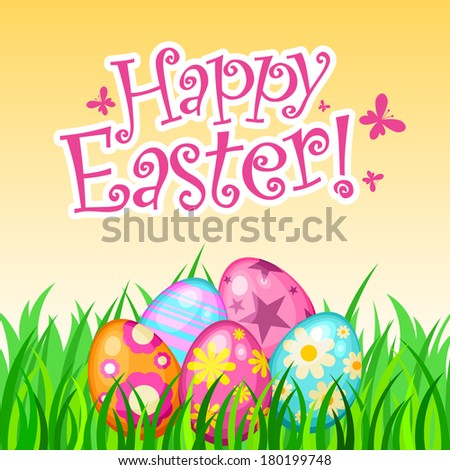 Easter background with Easter eggs and grass - stock vector