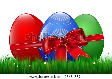 Easter background with easter eggs, red bow, grass, ladybug and flowers. Vector illustration. - stock vector