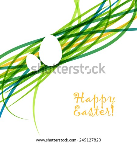 Easter background with egg. Vector illustration. - stock vector
