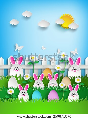 Easter background with eggs and rabbit  in grass .paper art style.