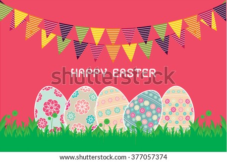 Easter background with eggs in grass and with copy space. Vector of easter eggs, can be used for wallpaper, cover fills, web page background, surface textures. Vector linen texture. - stock vector