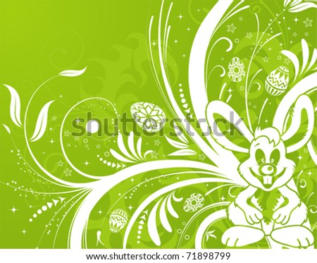 Easter background with ornament eggs, rabbit and flower, element for design, vector illustration