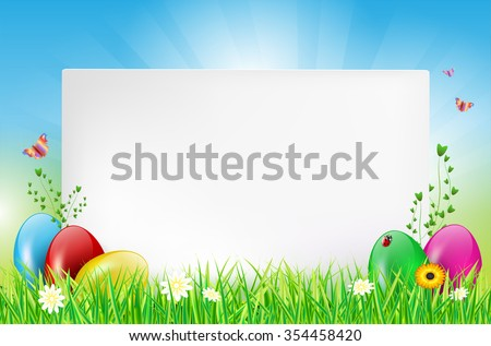 Easter background with paper card, easter eggs, grass, ladybug, butterflies and flowers. Vector illustration. - stock vector