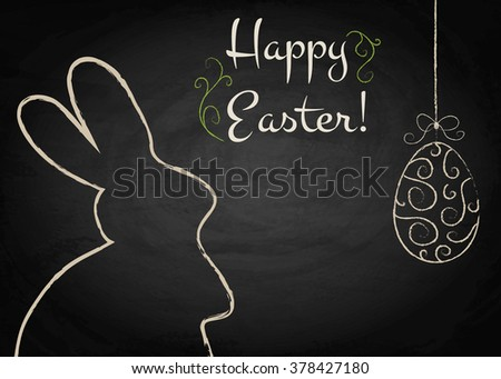 Easter background with rabbit and egg on chalkboard. Vector illustration