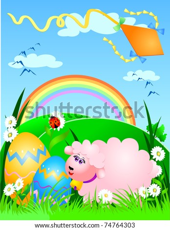 Easter background with sheep, vector image