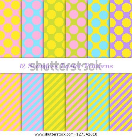 Easter Backgrounds. 12 Seamless Jumbo Polka Dot and Stripes Patterns in Pink, Yellow, Blue, Purple & Green. Pattern Swatches Included. Global colors - makes it easy to change all patterns in one click - stock vector