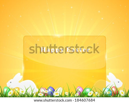 Easter banner with little rabbits and eggs in a grass on orange background, illustration. - stock vector