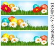 Easter banners with Easter eggs and colorful flowers. Vector illustration. - stock vector