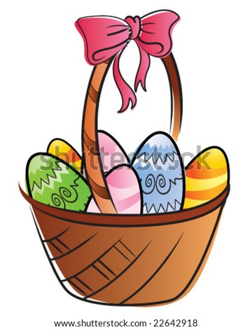 Easter Basket with Decorated Eggs - stock vector