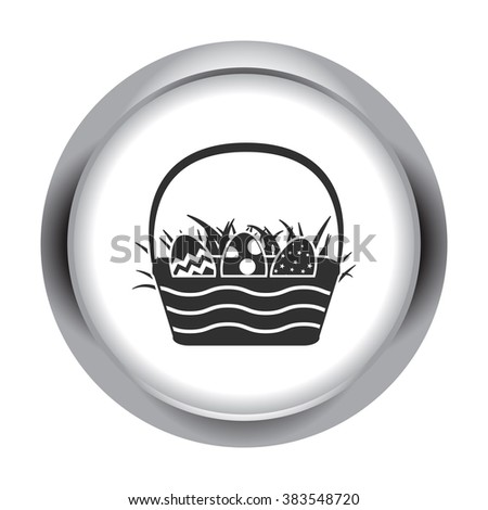 Easter basket with eggs simple icon on round background - stock vector
