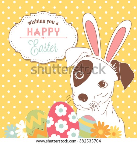 Easter Beagle Cute little dog with bunny ears - stock vector