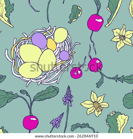 Easter breakfast colorful seamless pattern with spring vegetables and flowers in vector - stock vector