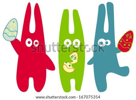 Easter bunnies - stock vector