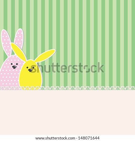 Easter bunnies greeting card with space to your text