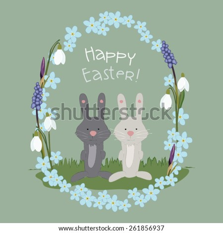 Easter Bunnies in a Flower Frame/Happy Easter!