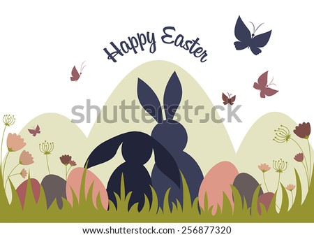 Easter bunnies with easter eggs, flowers and butterflies. Pastel colors with white background. Vector illustration. - stock vector