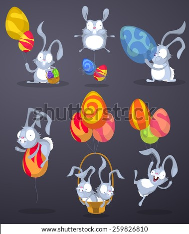 Easter bunnies with eggs in the form of balloons - stock vector
