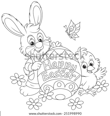 Easter Bunny and Chick - stock vector