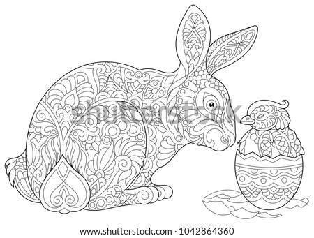 Easter Bunny And Newborn Baby Chicken In Egg Coloring Page For Adult Colouring Book