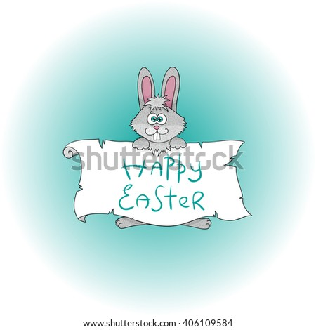 Easter bunny background. Spring holiday funny cartoon bunny.