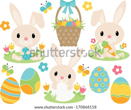 Easter Bunny (Blue) - stock vector