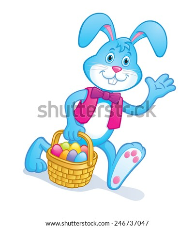 Easter Bunny Carrying A Basket of Colored Eggs