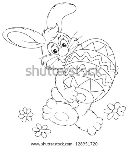Easter Bunny carrying a decorated Easter egg, black and white outline illustration for a coloring book - stock vector