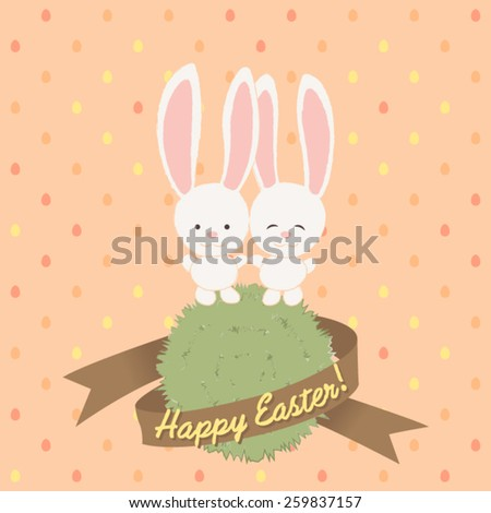 Easter Bunny Couple. Seamless pattern included in swatch palette.