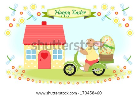 Easter bunny delivers big easter egg by scooter, greeting card decorated with cute house, dragonflies and flowers - stock vector