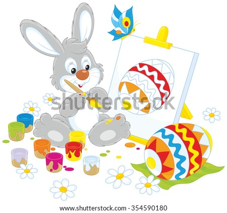 Easter Bunny drawing a colorful Easter egg on an easel - stock vector