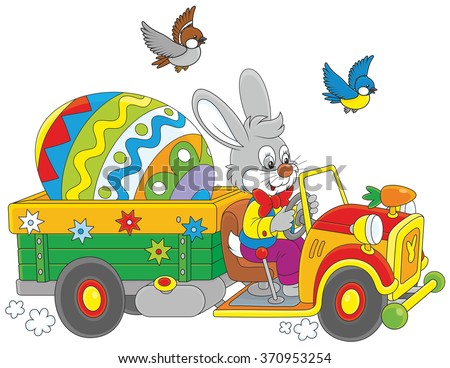 Easter Bunny driving a truck with a big colorfully decorated egg