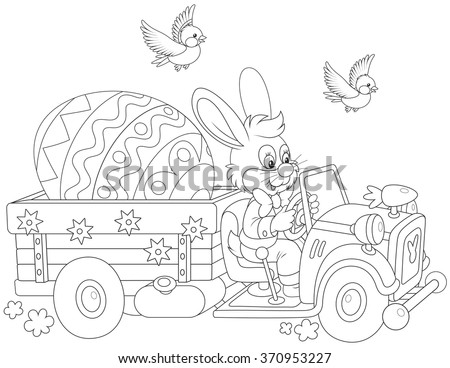 Easter Bunny driving a truck with a big decorated egg