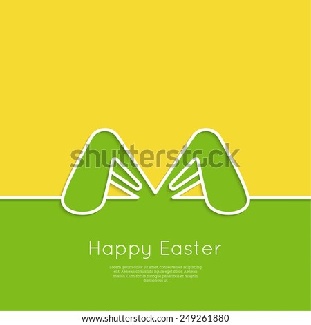 Easter bunny ears. Happy Easter card. minimal. Outline. - stock vector