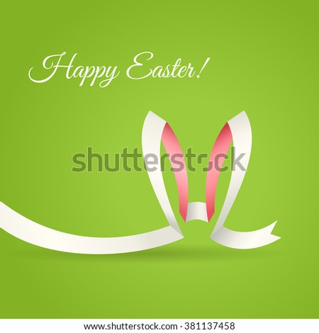 Easter Bunny Ears made of curved ribbon. Creative Happy Easter greetings card, banner or background. - stock vector