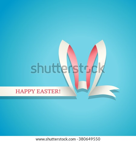 Easter Bunny Ears made of ribbon. Happy Easter greetings card or background - stock vector