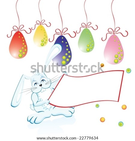 Easter bunny easter eggs with space for your text, vector illustration - stock vector