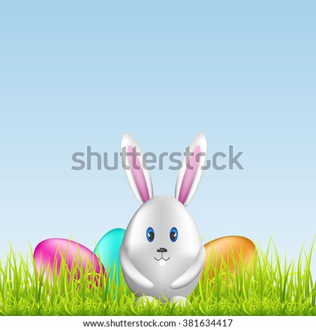 Easter bunny egg and colorful eggs on spring meadow. Easter background with space for text. Vector illustration