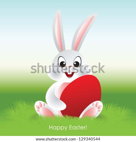 Easter bunny, greeting card - stock vector