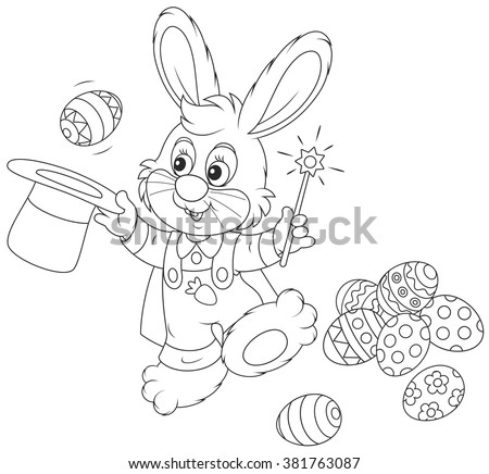 Easter Bunny illusionist with a magic wand pulling out decorated eggs from a wizard hat