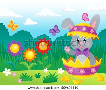 Easter bunny in eggshell theme image 3 - eps10 vector illustration.