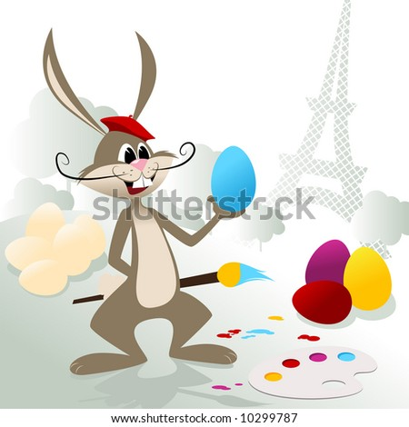 Easter bunny is very happy with his artistic skills. - stock vector