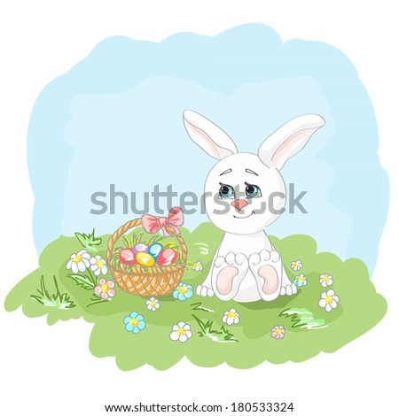 Easter bunny on sunny meadow with basket decorated Easter eggs. Sketch illustration. Easter greeting card. Vector illustration. EPS 10