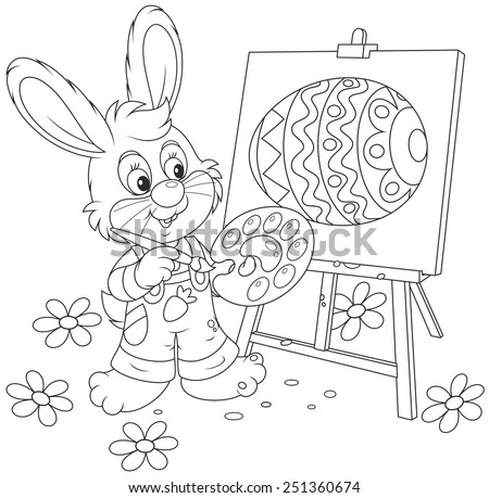 Easter Bunny painter - stock vector