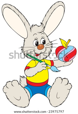 Easter Bunny painting an apple like the Easter egg - stock vector